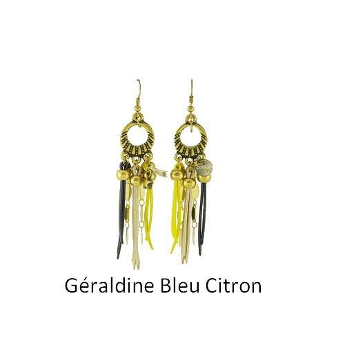 Geraldine: Pierced ears bronze and leather bouclesdoreillesgeraldinebleucitron