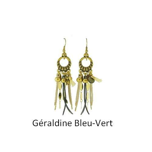 Geraldine: Pierced ears bronze and leather bouclesdoreillesgeraldinebleuvert