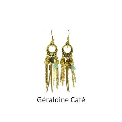 Geraldine: Pierced ears bronze and leather bouclesdoreillesgeraldinecafe